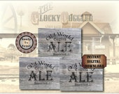 """Crate Label OLD ENGLISH ALE~ One 18x24"""" pdf ~ Weathered Pirate Bootlegger Prohibition Speakeasy Old West Roaring 20s Shipping Box Decoration"""