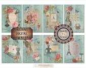 "8 Aged Ephemera Printable ATC ACEO Digital 2.5X3.5"" Cards ~ French Victorian Scrap, Aqua Barn Wood, Roses ~ Price Hang Tags, Jewelry Display"