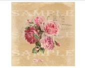 """Pink Roses Soap Gift Wrap Printable Sheet ~ Aged Paper Postage Mark Wrapping Paper JPG Download ~ 8"""" Square Bar Packaging ~ Vintage Floral"""