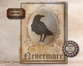 Poe Raven Nevermore Printable JPG ~ Spooky Party Decoration ~ Aged Coffee Stain Paper Frame ~ Goth Text Halloween Decor Junk Journal Sheet