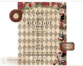 Alice TEA PARTY INVITATION Personalized File ~ Steampunk Alice's Adventures in Wonderland Mad Hatter Invite ~ Roses, Tea, Hat, Cat, Drink Me