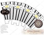 Popcorn Box Printable Template JPG Digital Download File ~ Black & White Vintage Striped Steampunk Roaring 20s Hollywood Cinema Favor Boxes