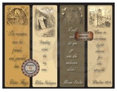 Spooky Bookmark Printable ~ 4 Quotes ~ Cemetery Grave Tomb Photos ~ Creepy Halloween Party Favors ~ Bram Stoker, Shakespeare ~ Junk Journal