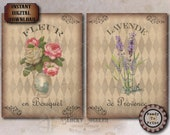 2 French Bouquets Printable JPGs ~ Shabby Rose, Lavender Junk Journal Wall Art ~ Aged Paper Fabric Texture ~ Old World Harlequin Background
