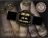 2020 UP IN FLAMES Cigar Labels Printable jpg File Digital Download ~ Black Gold Roaring 20s Wraparound Party Decoration New Year's Eve 2021