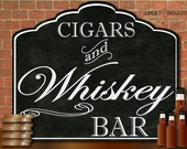 """CIGARS & WHISKEY Bar Printable Sign ~ 20X24"""" pdf ~ Chalk Art Style Bachelor Party, Wedding, Father's Day, New Year's Eve or Home Decor"""