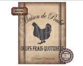Black French Grain Sack Printable JPG ~ Shabby Fabric Texture Download ~ Maison de Poulet Oeufs Frais Quotidiens ~ Chicken House Fresh Eggs