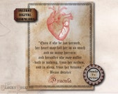 DRACULA Bram Stoker Heart Quote Printable JPG ~ Spooky Party Decoration ~ Aged Coffee Stain Vintage Goth Text Halloween Decor Junk Journal