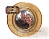 """PORTHOLE PICTURE FRAME Printable Personalized jpg file ~ Steamship Murder Mystery Escape Room Party ~ Brass and Glass Look 8"""" Ship Window"""