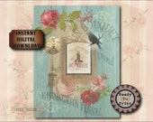French Boutique Junk Journal Sheet Printable JPG ~ Victorian Scrap Roses, Vin et Fromage Wine Cheese Sign ~ Shabby Aqua Barn Wood Background