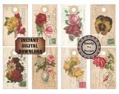Vintage Post Card Hang Tags Printable JPG ~ Salvaged Victorian Scrap Roses Pansies Flowers 1912 Postage Stamp Images ~ Note Cards Labels