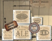 Crate Labels 5 Printable Bootlegger Prohibition Speakeasy Gatsby Party Props Roaring 20s Wedding Sign Rye Whiskey Bourbon Gin Ale Home Brew
