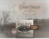 """Crate Label HOME BREW DISTILLERY 12x12"""" pdf ~ 1 Weathered Pirate Bootlegger Prohibition Speakeasy Old West Roaring 20s Shipping Box Decor"""