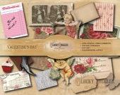 "52 Piece VALENTINE'S DAY Junk Journal Printable Set ~ 5 JPG ~ 16 Victorian Scrap Hearts, 34 Scrapbook Clip Art, 2 8.5x11"" Background Sheets"