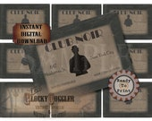 Speakeasy Table Card & Place Cards Set~ JPG Digital Files ~  Club Noir New York East Meets West Prohibition Roaring 20s Gatsby Party Wedding
