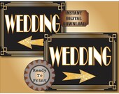 Roaring 20s Wedding Directional Signs Set of 2 Printable Prohibition Era Art Deco Gatsby Party Gold Black White Wedding Illuminate Sign