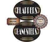 Flappers Gangsters Restroom Door Signs Printable Gatsby Party Art Deco Roaring 20s Prohibition Speakeasy Ladies Mens Room Wedding Decor
