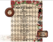 Alice Tea Party MENU Personalized File ~ Steampunk Alice's Adventures in Wonderland Mad Hatter ~ Rose, Tea, Hat, Cat, Drink Me, Eat Me Cakes