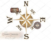 """Map Compass Rose Printable Kit on 3 JPGs ~ Weathered 8"""" Center, Gold Points &  Directions ~ Nautical Ship Pirate Style Aged Wall Ceiling Art"""