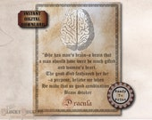 DRACULA Bram Stoker Brain Quote Printable JPG ~ Spooky Party Decoration ~ Aged Coffee Stain Vintage Goth Text Halloween Decor Junk Journal