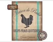 Aqua French Grain Sack Printable JPG ~ Shabby Fabric Texture Download ~ Maison de Poulet Oeufs Frais Quotidiens ~ Chicken House Fresh Eggs