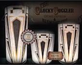 Art Deco Printable Luminaries Set DIY Candle Wraps ~ 3 JPGs ~ Prohibition Speakeasy Roaring 20s Gold Black Table Centerpiece Wedding Decor