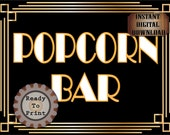 POPCORN BAR Sign Roaring 20s Prohibition Art Deco Gatsby Inspired Gold Black White Wedding Centerpiece Party Bar Reception Room Door Sign