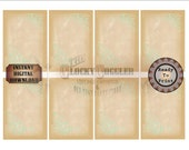 """Green Scroll Note Cards ~ 8 Printable ATC ACEO 2.5X3.5"""" Cards ~ Victorian Scrap Tea Stained Aged Paper Price or Hang Tags, Jewelry Display"""
