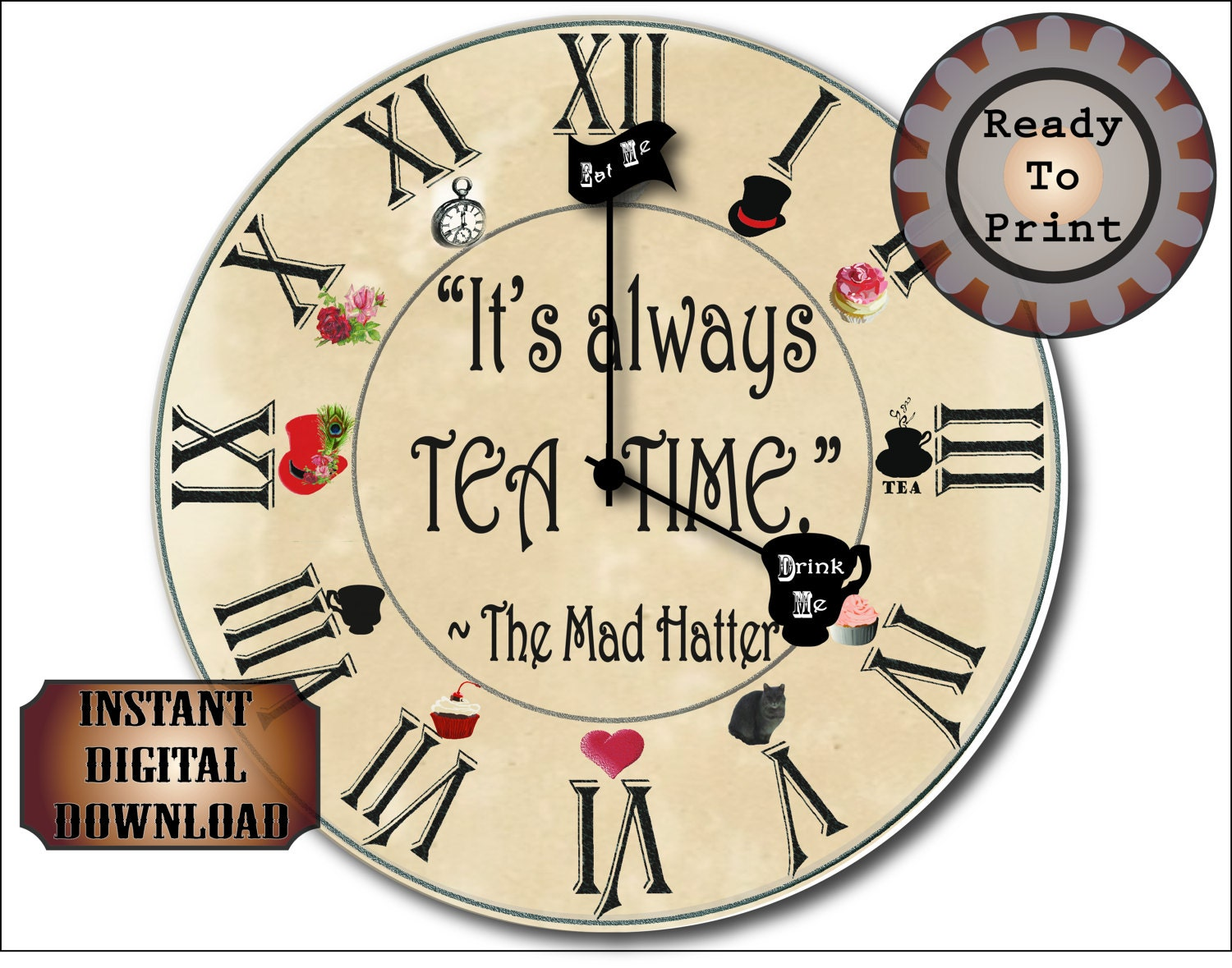 Mad Hatter Clock Printable Kit Steampunk Aged Its Etsy