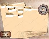 File Folder Labels Printable Sheet JPG File ~ 30 Filing Envelope Tags ~ Antique Test Tube Label Black Vintage Victorian Goth Office Supply