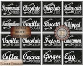 Hot Chocolate Toppings Printable Set ~ Simple Chalkboard Art Style 16 Ingredients Labels ~ Christmas New Year Party Fall Winter Wedding