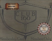 Speakeasy Card Printable 1920s Era Club 160 Sign Prohibition Roaring 20s Style Art Deco Gatsby Party Wedding Centerpiece Bar Front Door Sign
