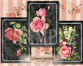 """Chalk Art Style Bouquets ATC ACEO File 8 Junk Journal, Price Tag, Jewlelry Cards 2.5X3.5"""" Victorian Scrap Rose Peacock Feather Chalkboard"""