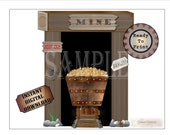 """Gold Mine Set ~ Printable Wild West Party Wedding Props ~ 5 PDF File Images ~ Mine Shaft Entrance, Wooden Cart, Tracks, """"Danger"""" """"Keep Out"""""""