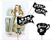 Alice's Drink Me Labels Printable JPG Sheet ~ Flags and Tea Cups Victorian Party Decorations ~ Black Chalkboard Style Heart, Pocketwatch