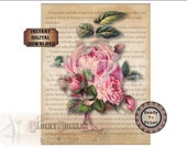 """Botanical Rose Literary Quote Printable Wall Art ~ THE SECRET GARDEN ~ Victorian Scrap Overlay on Literature Text Aged Paper 8.5X11"""" Sheet"""