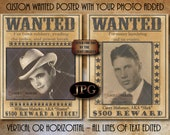 Custom WANTED POSTER Printable JPG File ~ Vertical or Horizontal Photo, Personalized Crime, Name Added For You ~ Dollar Reward Party Wedding