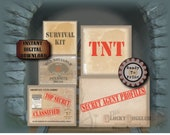 ESCAPE ROOM PARTY 5 Crate Labels Pdfs ~ Spy Secret Agent Detective Murder Mystery Props, Printable Decor ~ Evidence, Top Secret, Classified