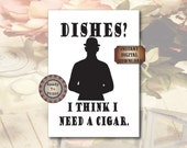 Victorian Dishes Sign Black White Dishes Cigar Bowler Hat Printable 8X10 Digital Kitchen Dining Decor Steampunk Wall Art Tea Towel Supply