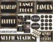 Roaring 20s Party Bundle ~ Digital Flappers, Gangsters, Cupcake Toppers, Selfie Station, Advice Couple, Table #, Favors, Dance Floor, Buffet