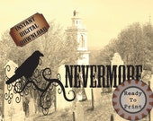 Nevermore Printable Cemetery Hill Poe Raven Silhouette Digital Print Goth Art Edgar Allan Poe Halloween Decoration Social Media Cover Photo