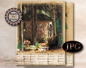 Christmas Enchanted Forest Hidden Objects Game Printable 2 JPGs Sheet ~ Aged Paper Round Hut, Christmas Star, Dormouse, Elf, Gnomes, Fairies