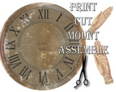 """8"""" Steampunk Clock Kit Printable ~ Weathered Metal Palm Reading Hands ~ Round ~ Roman Numerals, Victorian Vintage Style Aged Wall Art"""
