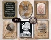 6 Poe Quotes Printable Set JPGs ~ Spooky Party Decoration ~ Aged Coffee Stain Vintage Frame ~ Goth Text Halloween Decor Junk Journal Sheet
