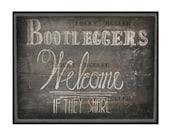 Chalkboard Bootleggers Welcome Sign Printable Art ~ Roaring 20s Speakeasy Gangster 1920s Rustic Hand Drawn Print - Wedding Decor 8.5X11 JPG