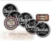 Hot Chocolate Mix Printable CHRISTMAS Sheet 12 Mason Jar Lid Labels~ 3 Files ~ Single PNG Image ~ Holiday Party, Winter Wedding Favor Tags