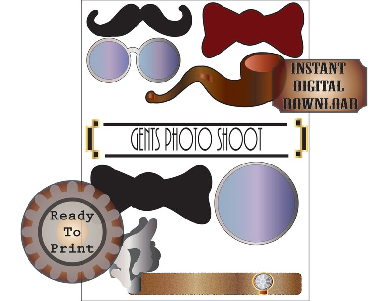 Gents Photo Booth Props Printable Roaring 20s Prohibition image 0