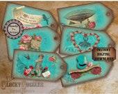 "6 Steampunk Hang Tags Printable JPG File ~ Victorian Scrap Rose Aqua ~ 2.5 X 5"" Worn Velvet Aged Price, Gift, Jewelry Cards ~ Paris, Airship"
