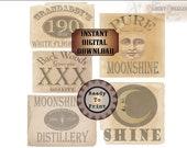 5 Moonshine Jar Jug Labels Printable Bootlegger Roaring 20s Prohibition Speakeasy Party ~ Grandaddy's White Lightning, XXX, Revenuer, Moons