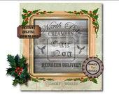 "EGG NOG Crate Label ""North Pole Creamery Reindeer Delivery"" ~ 8X8"" JPG ~ Weathered Barn Wood Bootlegger Prohibition Speakeasy Christmas Prop"